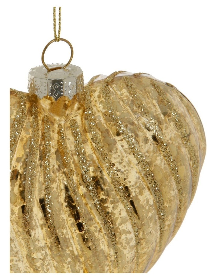 Heirloom Ribbed Glass Heart Hanging Ornament image 3