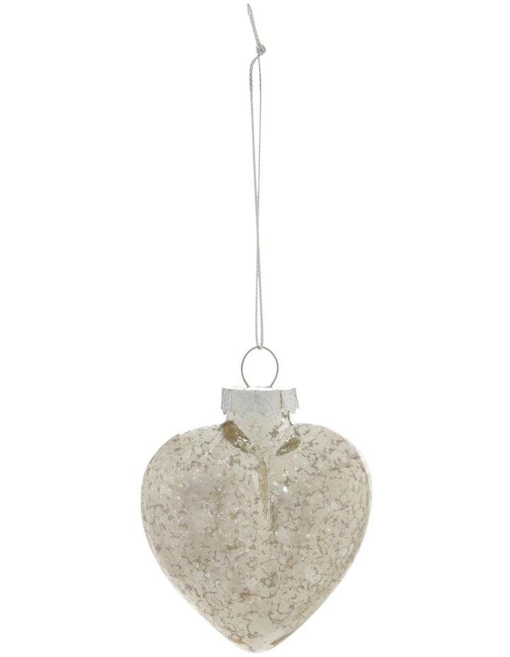 Eucalyptus Silver Mercurised Glass Heart Hanging Ornament image 1