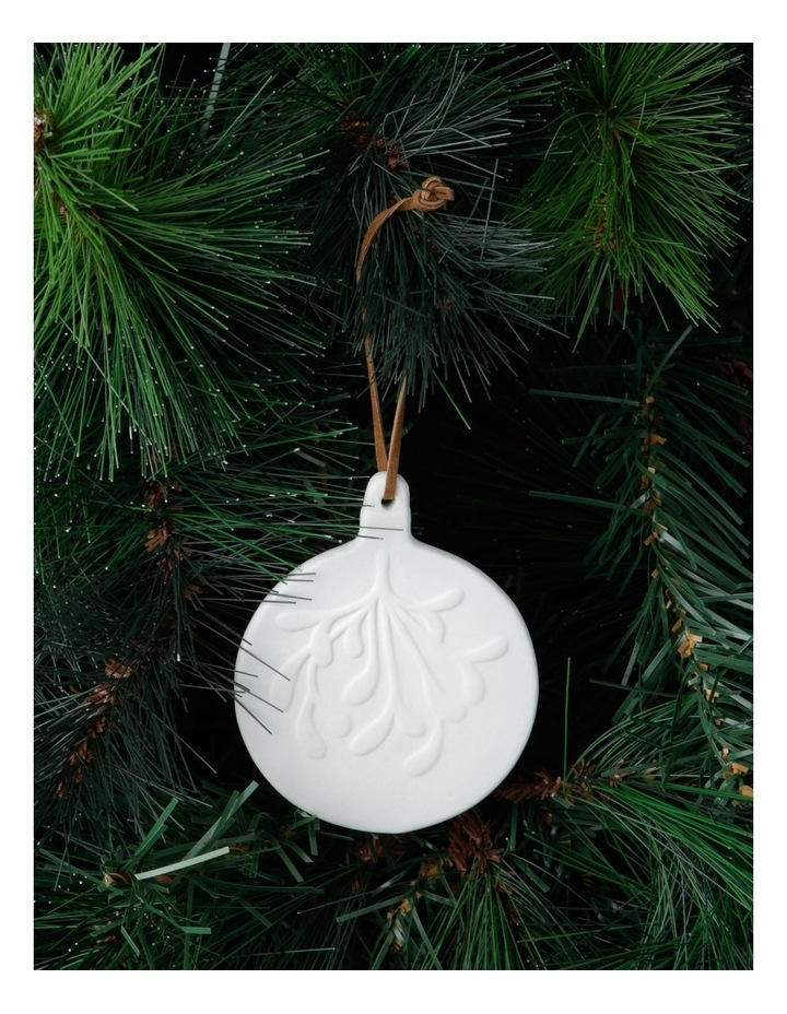 Eucalyptus White Ceramic Mistletoe Bauble Hanging Ornament image 2