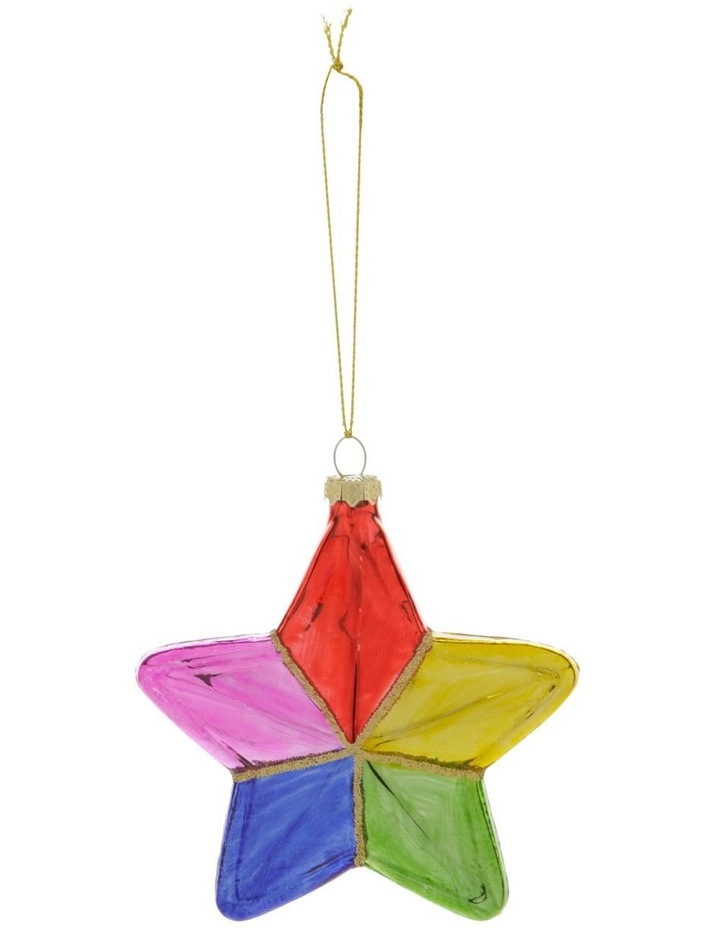 Merry & Bright Rainbow Glass Star Hanging Ornament image 1