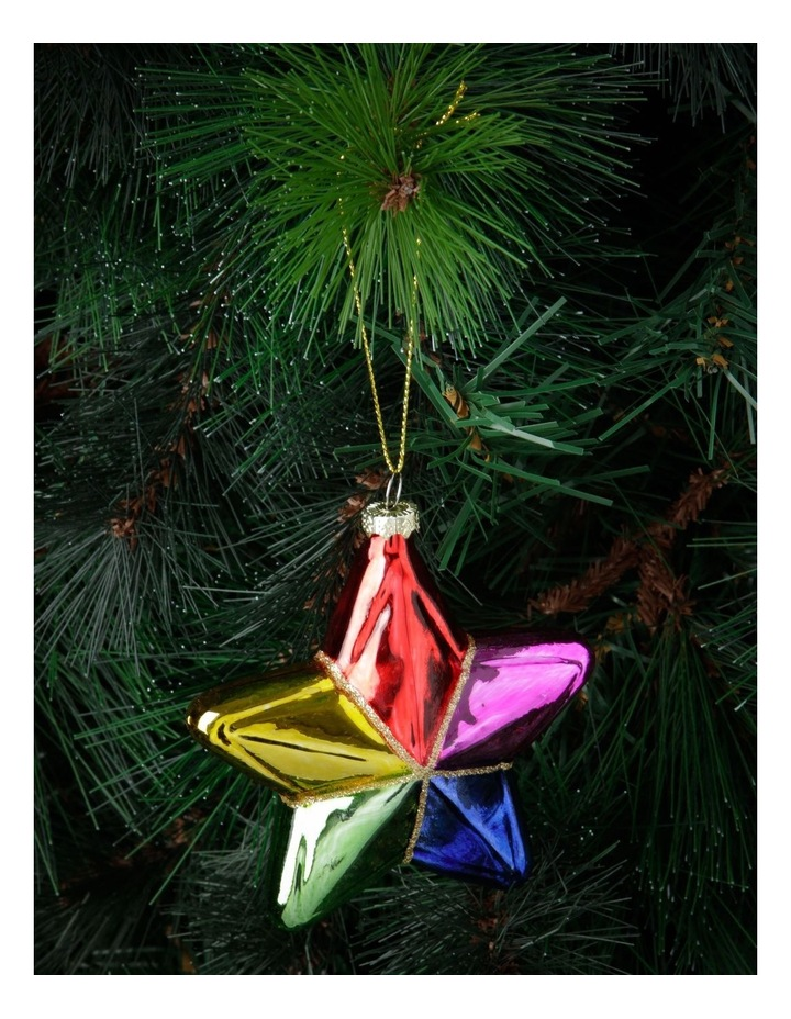Merry & Bright Rainbow Glass Star Hanging Ornament image 2