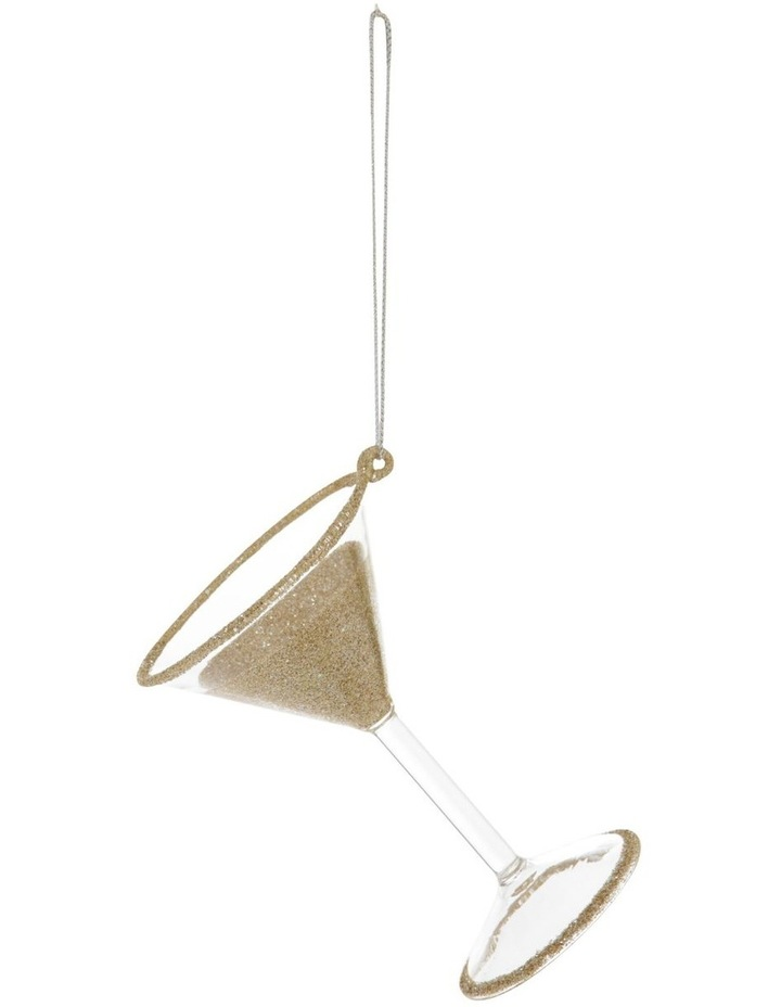 Luxe Glass Champagne Glitter Martini Hanging Ornament image 1