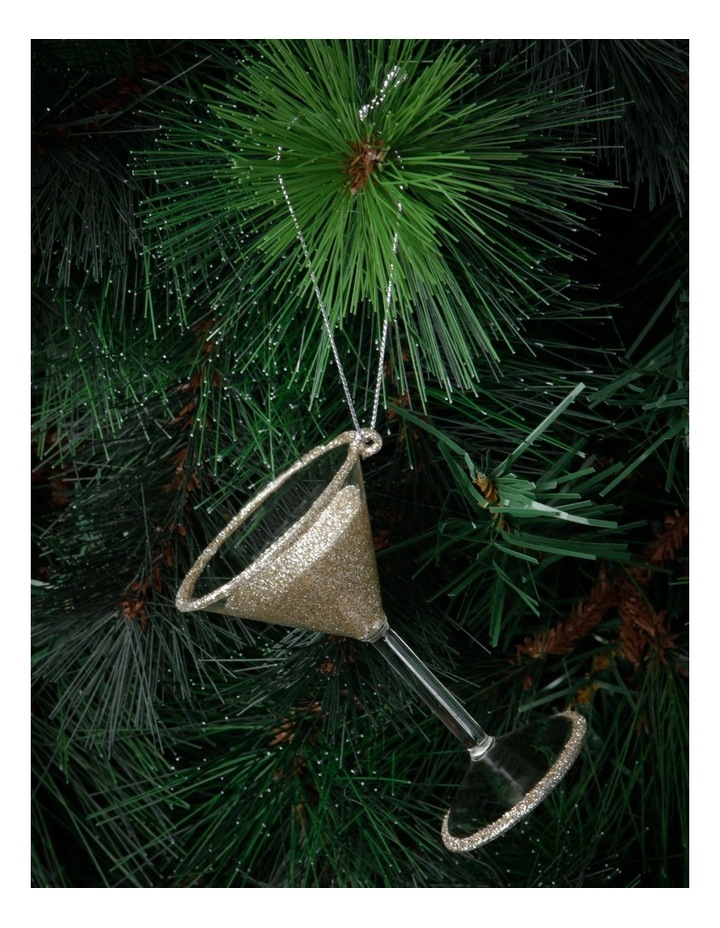 Luxe Glass Champagne Glitter Martini Hanging Ornament image 2