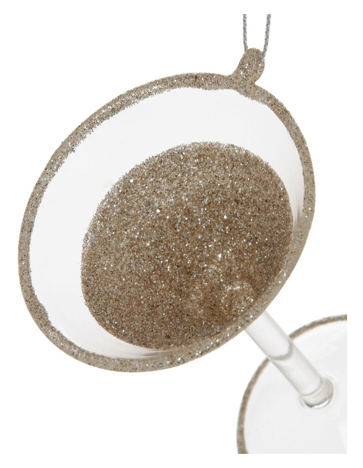 Luxe Glass Champagne Glitter Martini Hanging Ornament image 3