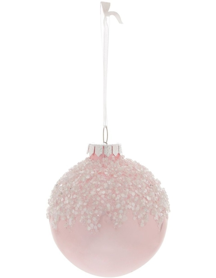 Luxe Pink Dripped Beaded Bauble image 1