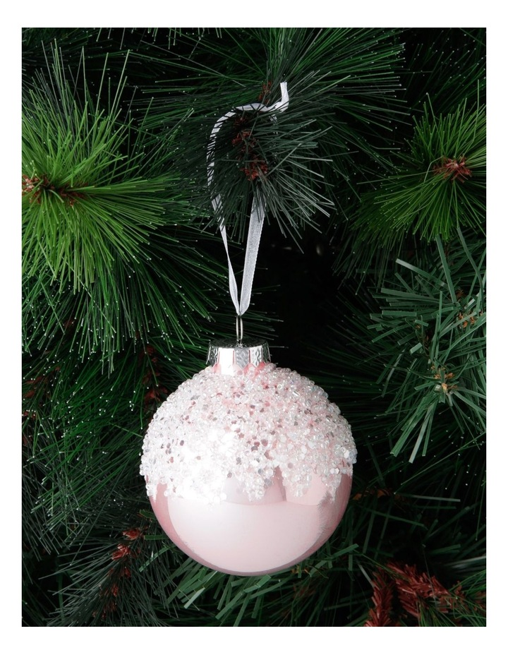 Luxe Pink Dripped Beaded Bauble image 3