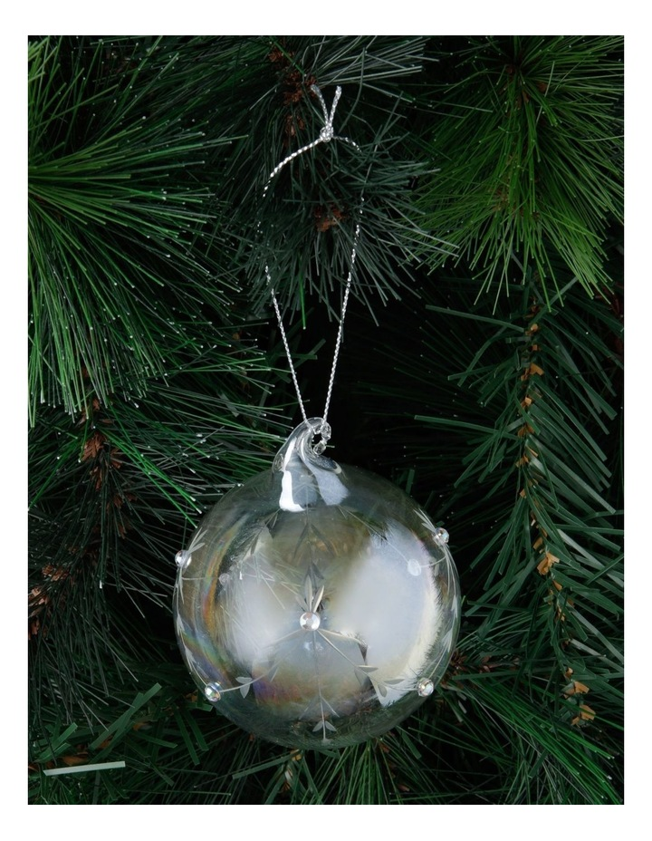 Luxe Iridescent Etched Glass Bauble image 2