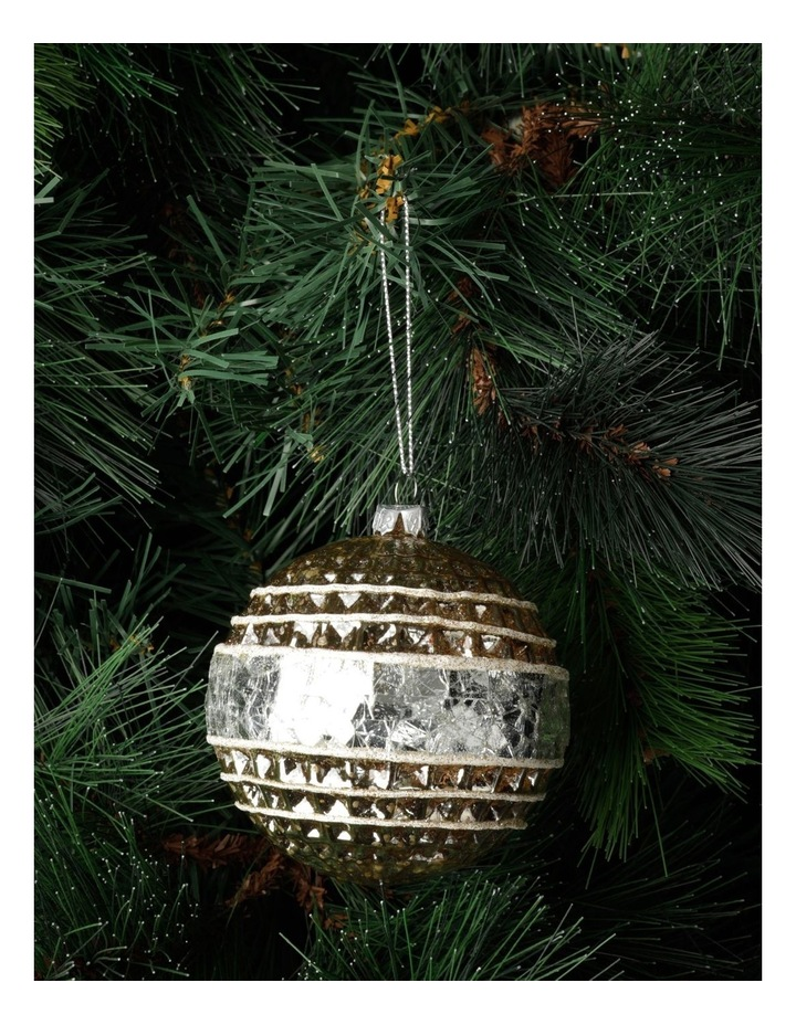 Eucalyptus Glass Pressed Cube w/ Mirrored Band Bauble- Silver/Natural: 10cm image 1