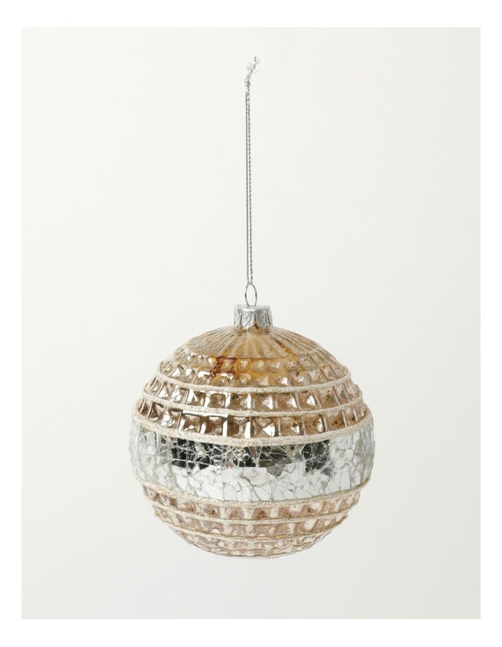 Eucalyptus Glass Pressed Cube w/ Mirrored Band Bauble- Silver/Natural: 10cm image 2