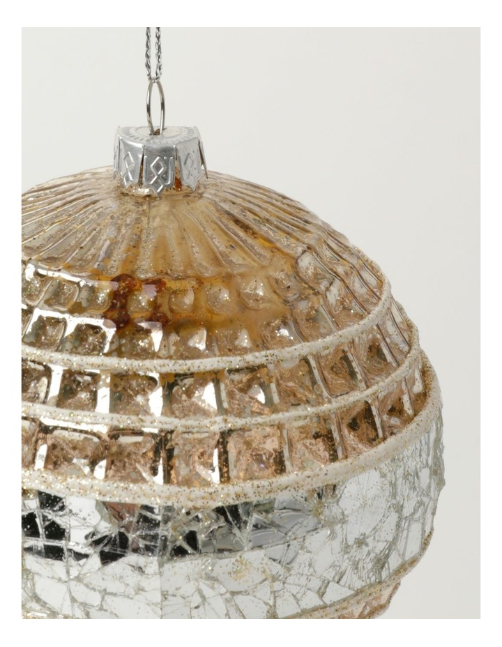 Eucalyptus Glass Pressed Cube w/ Mirrored Band Bauble- Silver/Natural: 10cm image 3