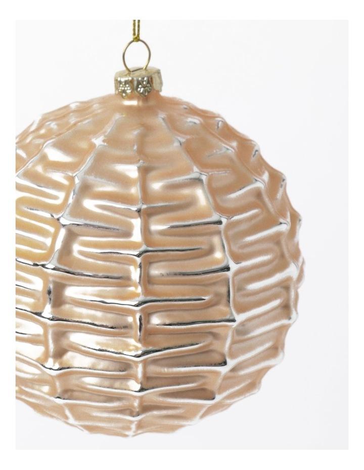 Eucalyptus Glass Basket Weave Bauble- Gumnut: 10cm image 3