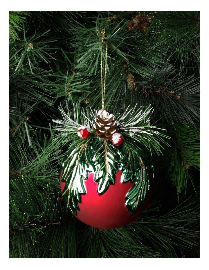 Heirloom Glass Mistletoe w/ Pinecone Foliage Bauble- Red: 12cm image 1