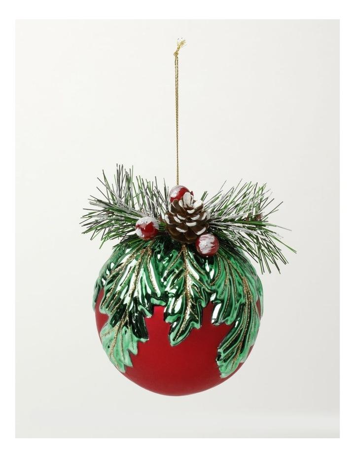 Heirloom Glass Mistletoe w/ Pinecone Foliage Bauble- Red: 12cm image 2