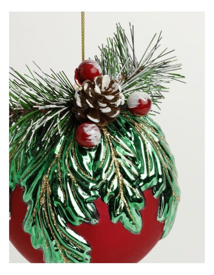 Heirloom Glass Mistletoe w/ Pinecone Foliage Bauble- Red: 12cm image 3