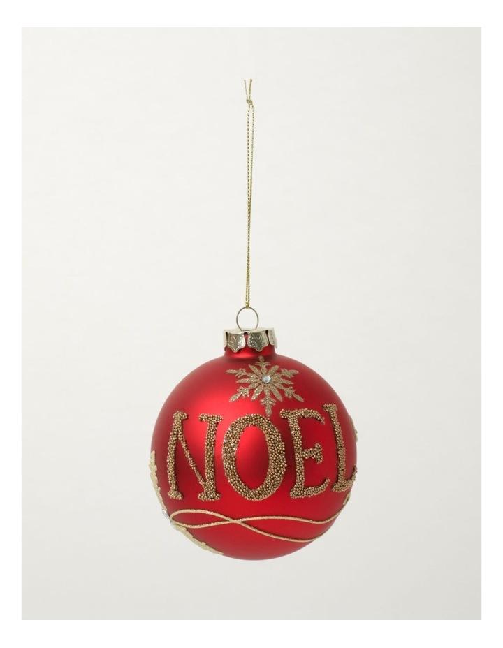 Heirloom Glass Beaded 'NOEL' Bauble- Red: 9cm image 2