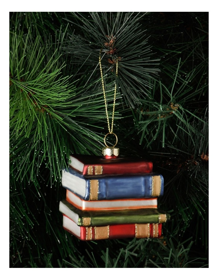 Heirloom Glass Stacked Books Ornament- Red/Blue: 6 cm image 1