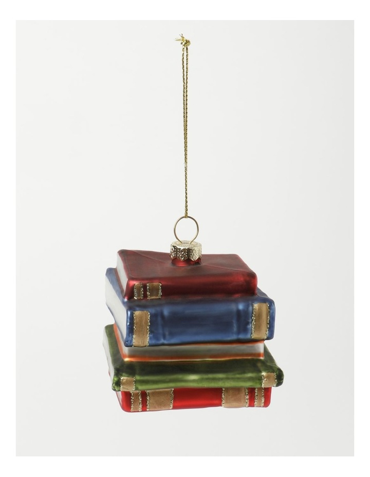 Heirloom Glass Stacked Books Ornament- Red/Blue: 6 cm image 2