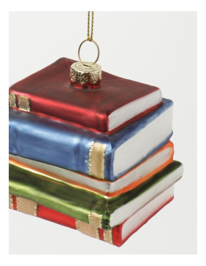 Heirloom Glass Stacked Books Ornament- Red/Blue: 6 cm image 3