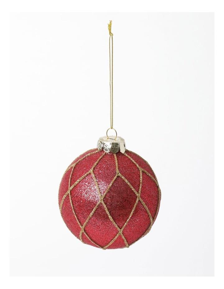 Heirloom Glass Beaded Diamond Grid Bauble- Red: 8cm image 2
