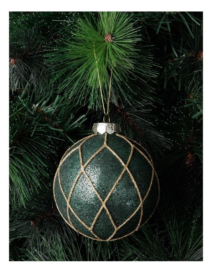 Heirloom Glass Beaded Diamond Grid Bauble- Green: 8cm image 1