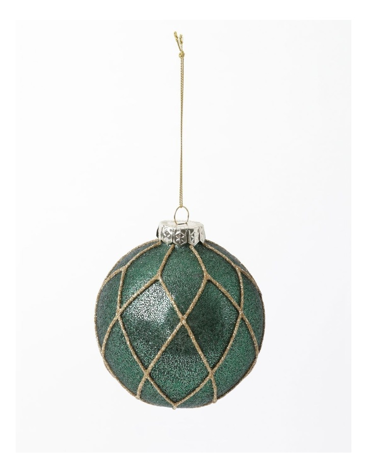 Heirloom Glass Beaded Diamond Grid Bauble- Green: 8cm image 2