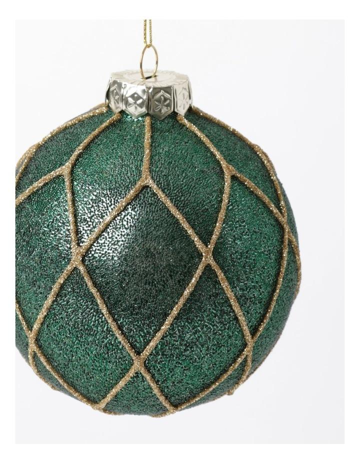 Heirloom Glass Beaded Diamond Grid Bauble- Green: 8cm image 3