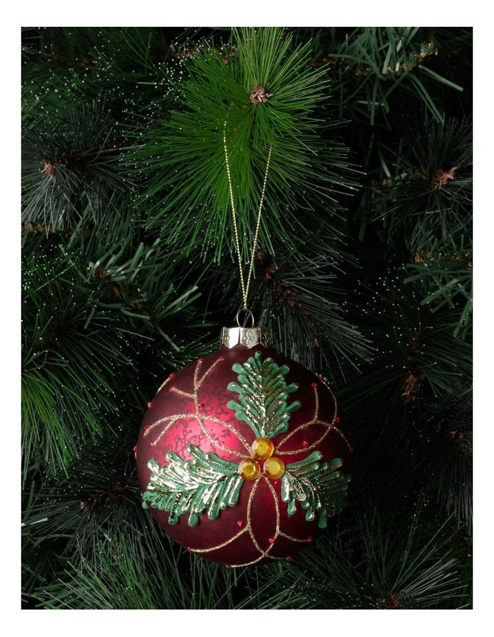 Heirloom Glass Holly Leaf Bauble Ornament- Red: 10cm image 1
