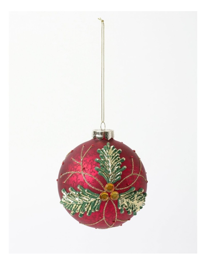 Heirloom Glass Holly Leaf Bauble Ornament- Red: 10cm image 2