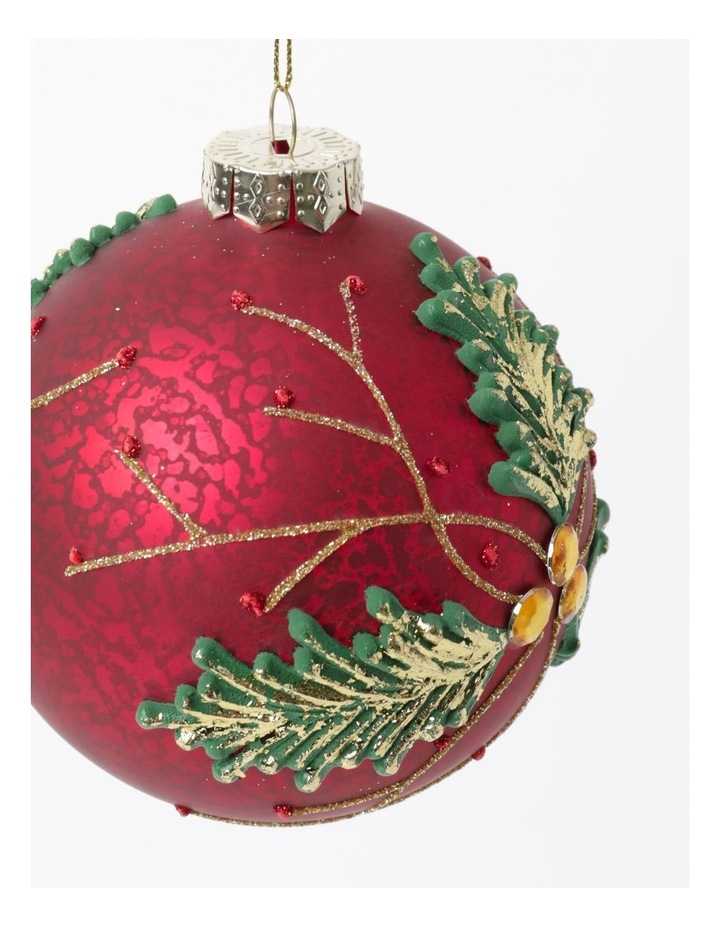 Heirloom Glass Holly Leaf Bauble Ornament- Red: 10cm image 3