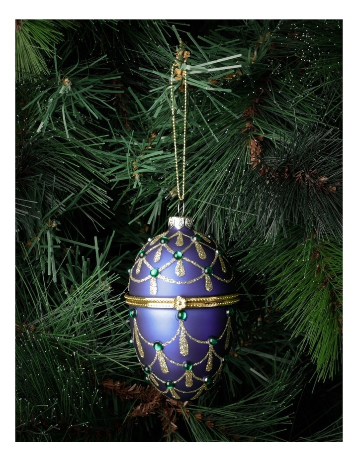 Heirloom Glass Hinged Box Egg Ornament- Blue: 10cm image 1