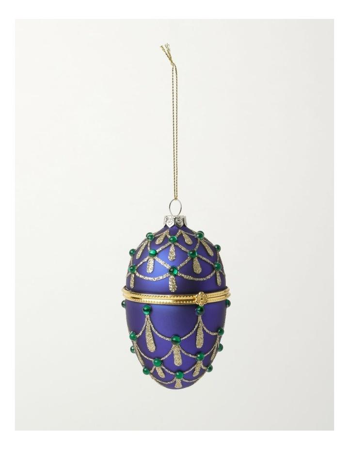 Heirloom Glass Hinged Box Egg Ornament- Blue: 10cm image 2