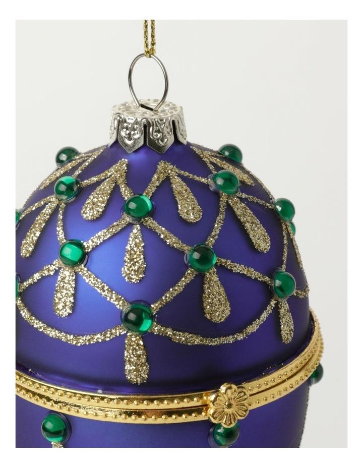 Heirloom Glass Hinged Box Egg Ornament- Blue: 10cm image 3