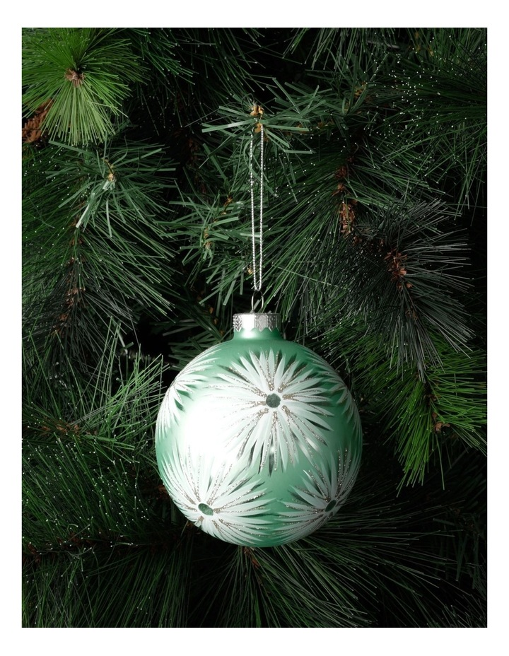 Luxe Glass Starburst Pattern Bauble- Mint: 10cm image 1
