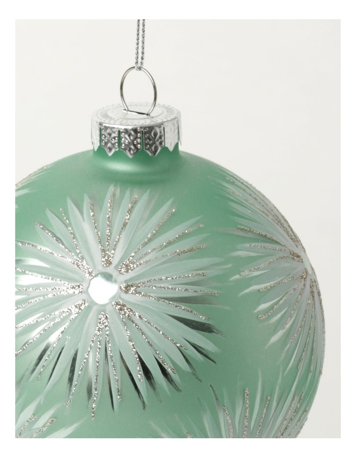 Luxe Glass Starburst Pattern Bauble- Mint: 10cm image 3