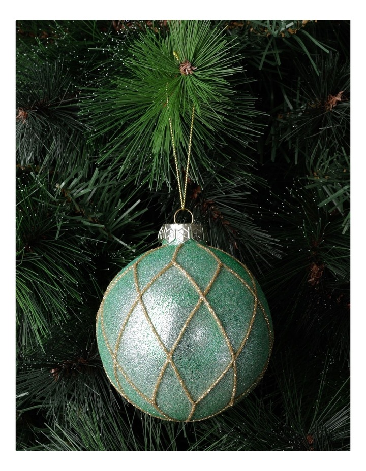 Luxe Glass Beaded Diamond Grid Bauble- Mint: 8cm image 1