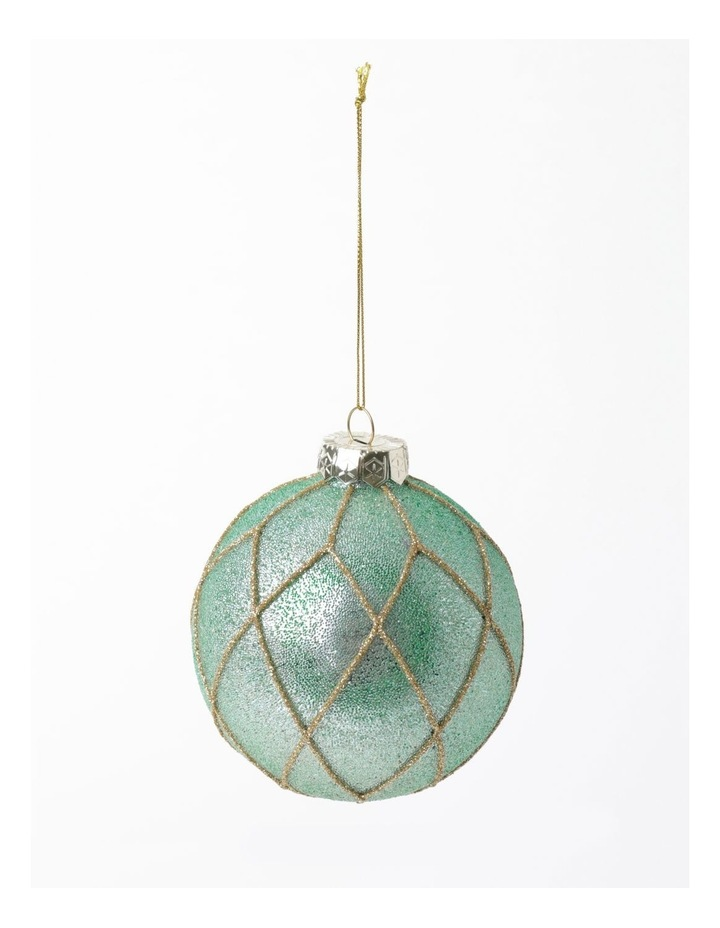 Luxe Glass Beaded Diamond Grid Bauble- Mint: 8cm image 2