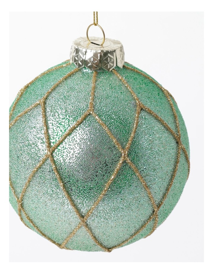 Luxe Glass Beaded Diamond Grid Bauble- Mint: 8cm image 3