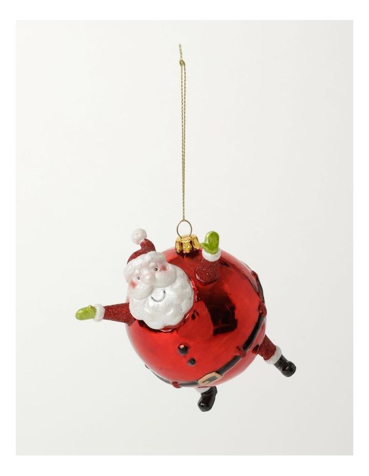 Merry & Bright Glass Round Santa Ornament- Red: 10cm image 2