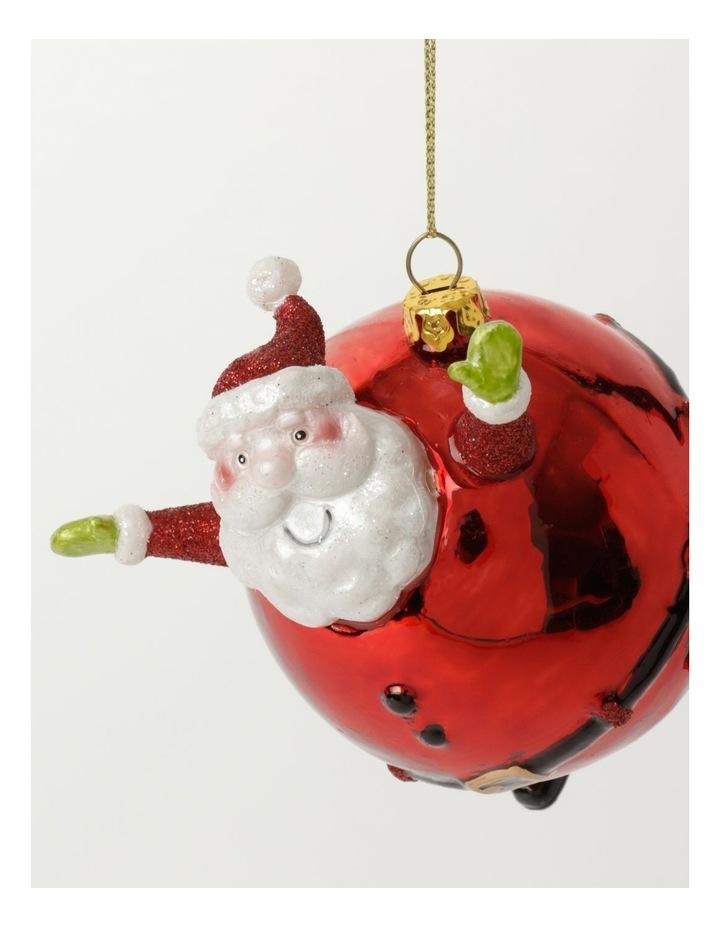 Merry & Bright Glass Round Santa Ornament- Red: 10cm image 3