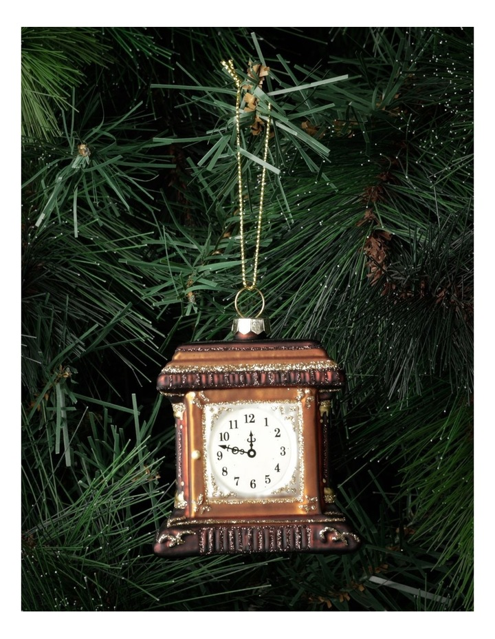 Heirloom Glass Table Clock Ornament- Brown: 7cm image 1
