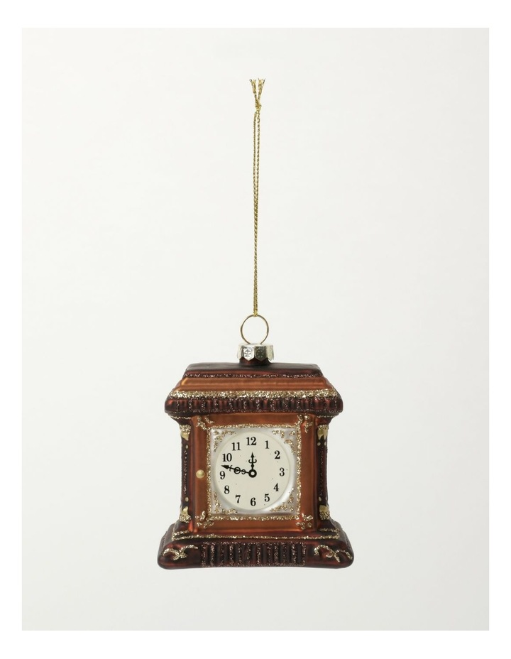 Heirloom Glass Table Clock Ornament- Brown: 7cm image 2