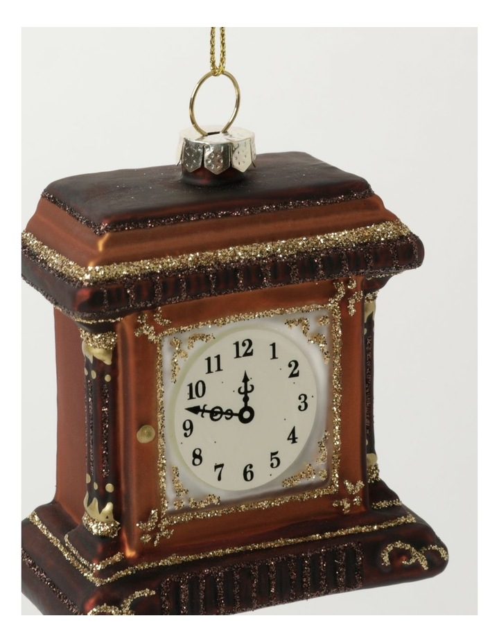 Heirloom Glass Table Clock Ornament- Brown: 7cm image 3