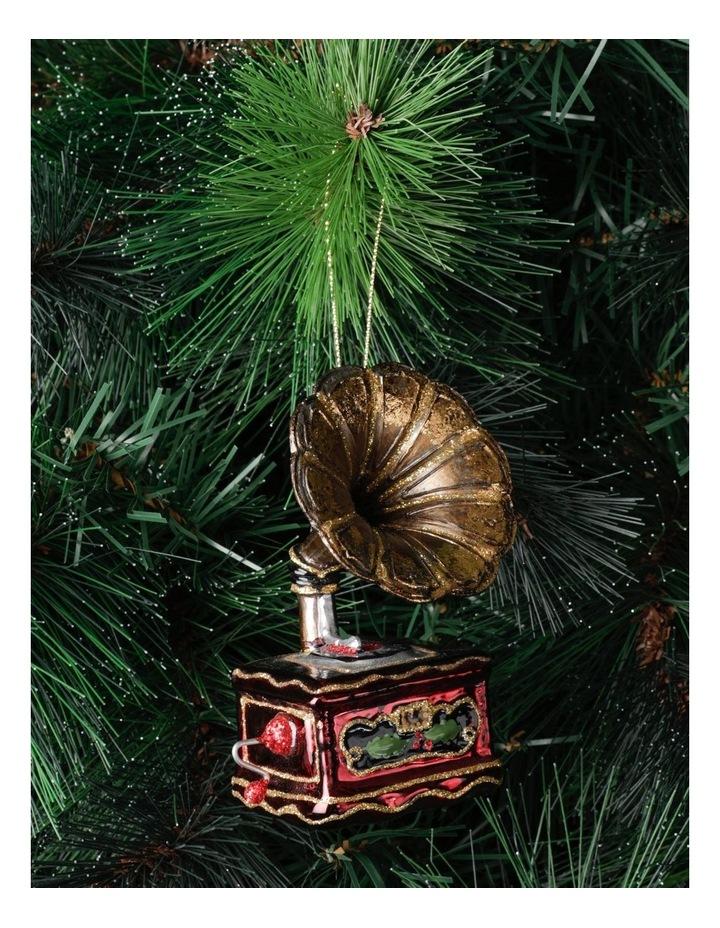 Heirloom Glass Gramophone Ornament- Gold/Brown: 11 cm image 1
