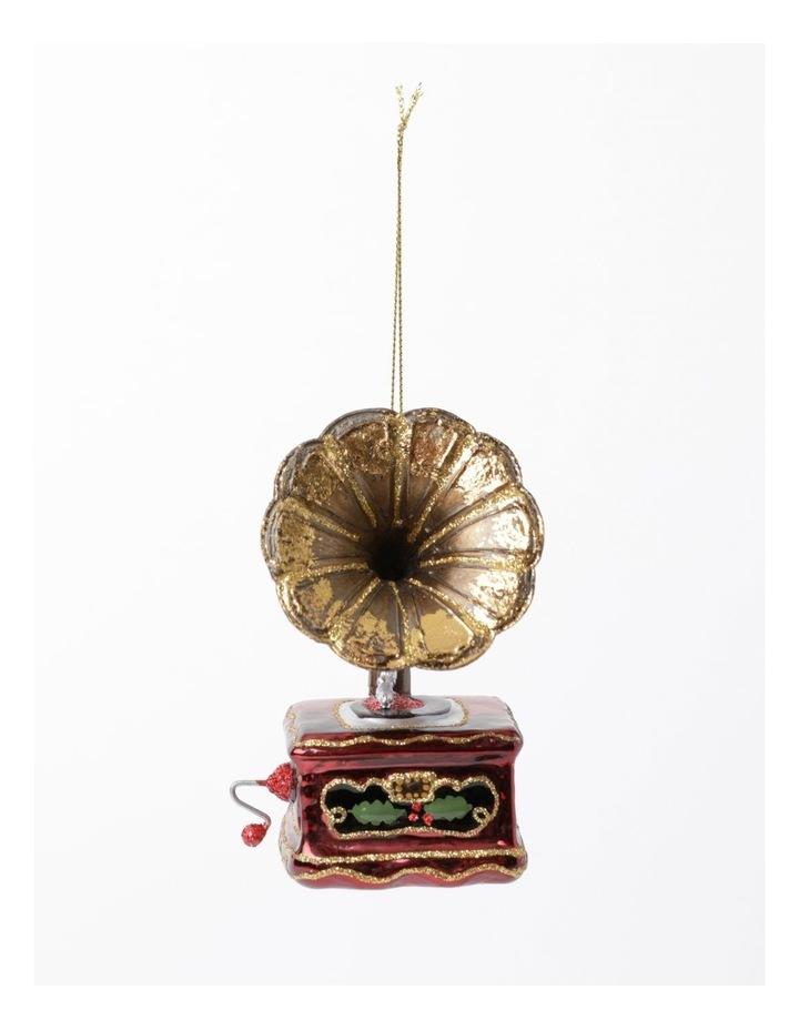 Heirloom Glass Gramophone Ornament- Gold/Brown: 11 cm image 2