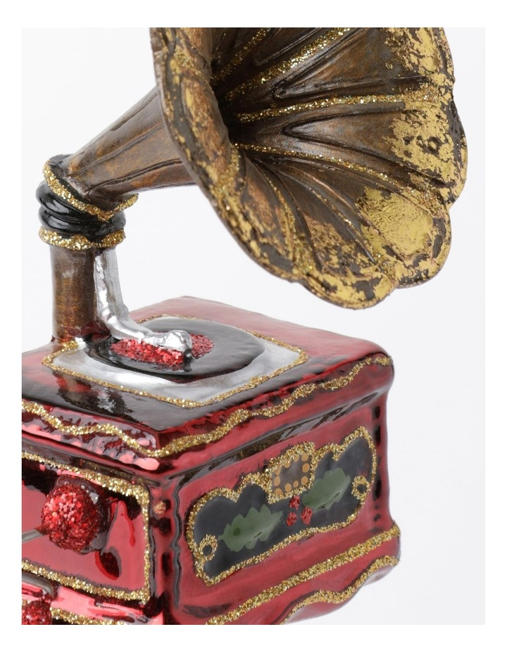 Heirloom Glass Gramophone Ornament- Gold/Brown: 11 cm image 3
