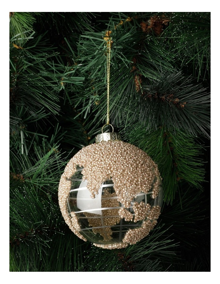Luxe Glass Beaded Globe Bauble- Champagne: 10cm image 1