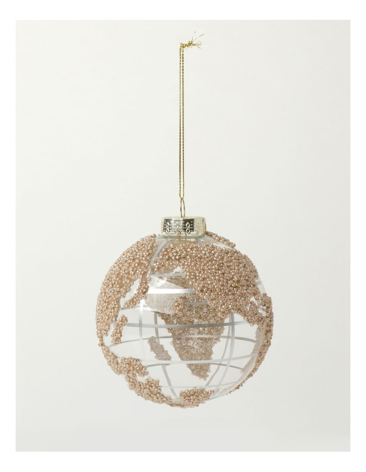 Luxe Glass Beaded Globe Bauble- Champagne: 10cm image 2