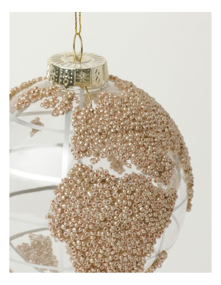 Luxe Glass Beaded Globe Bauble- Champagne: 10cm image 3