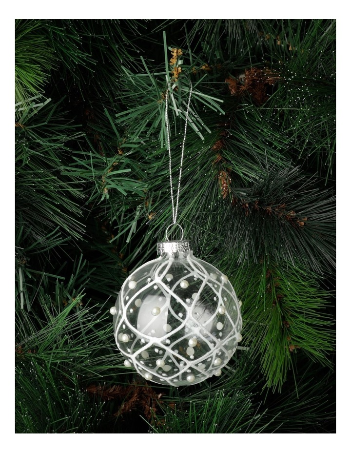 Luxe Glass Rounded Grid w/ Pearls Bauble- Clear: 8cm image 1