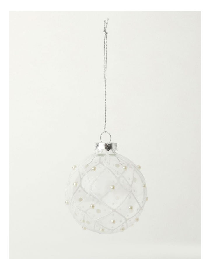 Luxe Glass Rounded Grid w/ Pearls Bauble- Clear: 8cm image 2